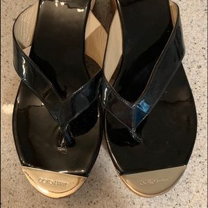 Jimmy Choo Black Leather Sandals Mules Wedged Heel